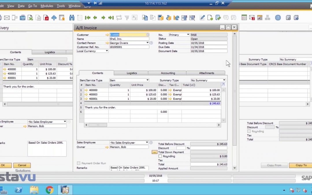 SAP Business One Sales order to process to cash