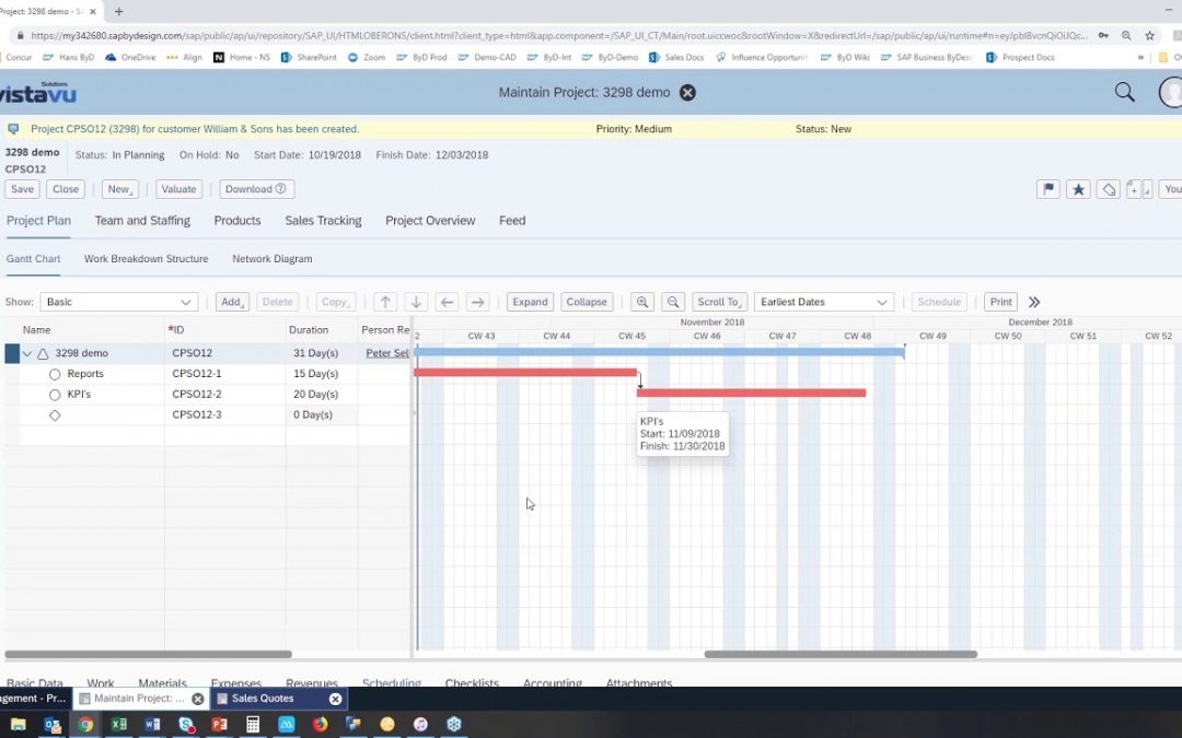 SAP Business ByDesign creating a project plan