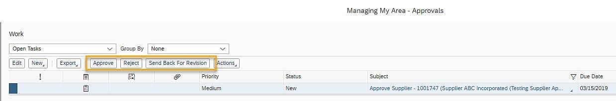 SAP Business ByDesign supplier approver screen