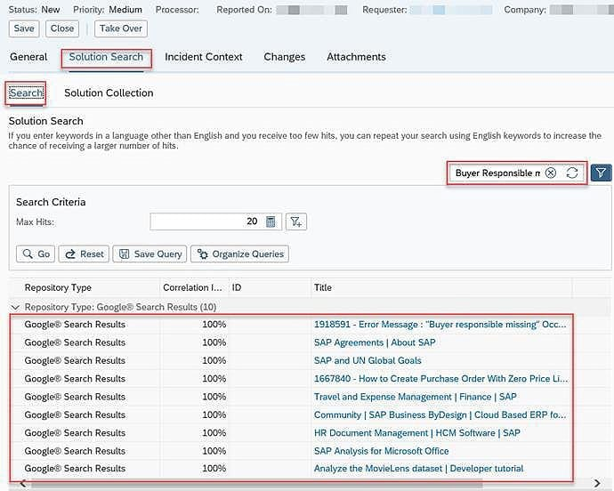 SAP Business ByDesign getting search results