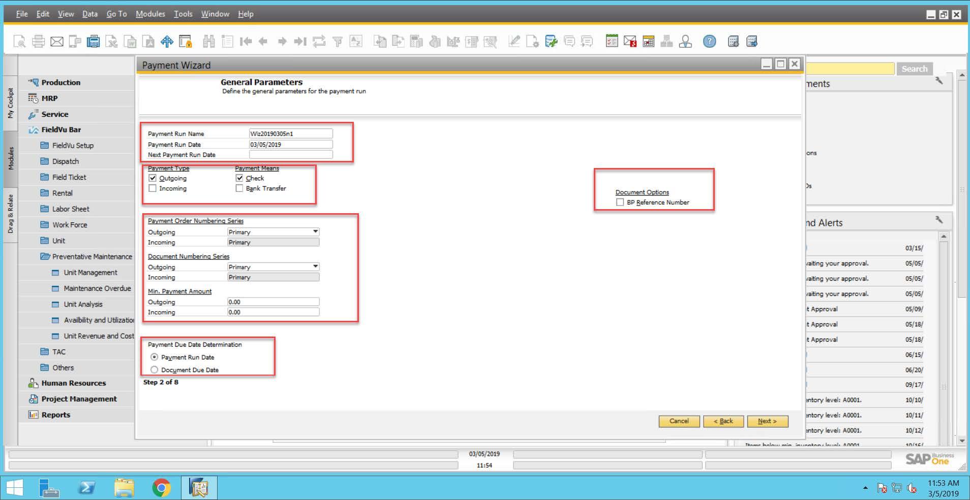general parameters - sap business one