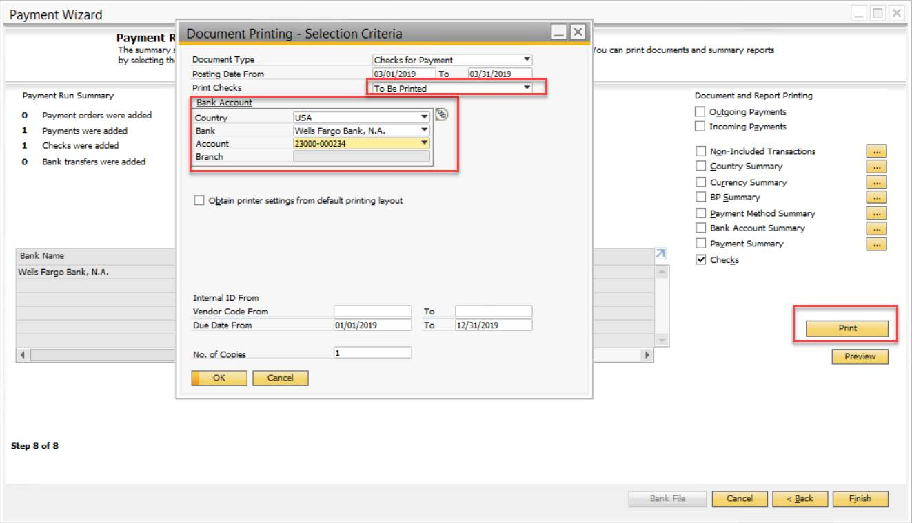 printing wizard - sap business one