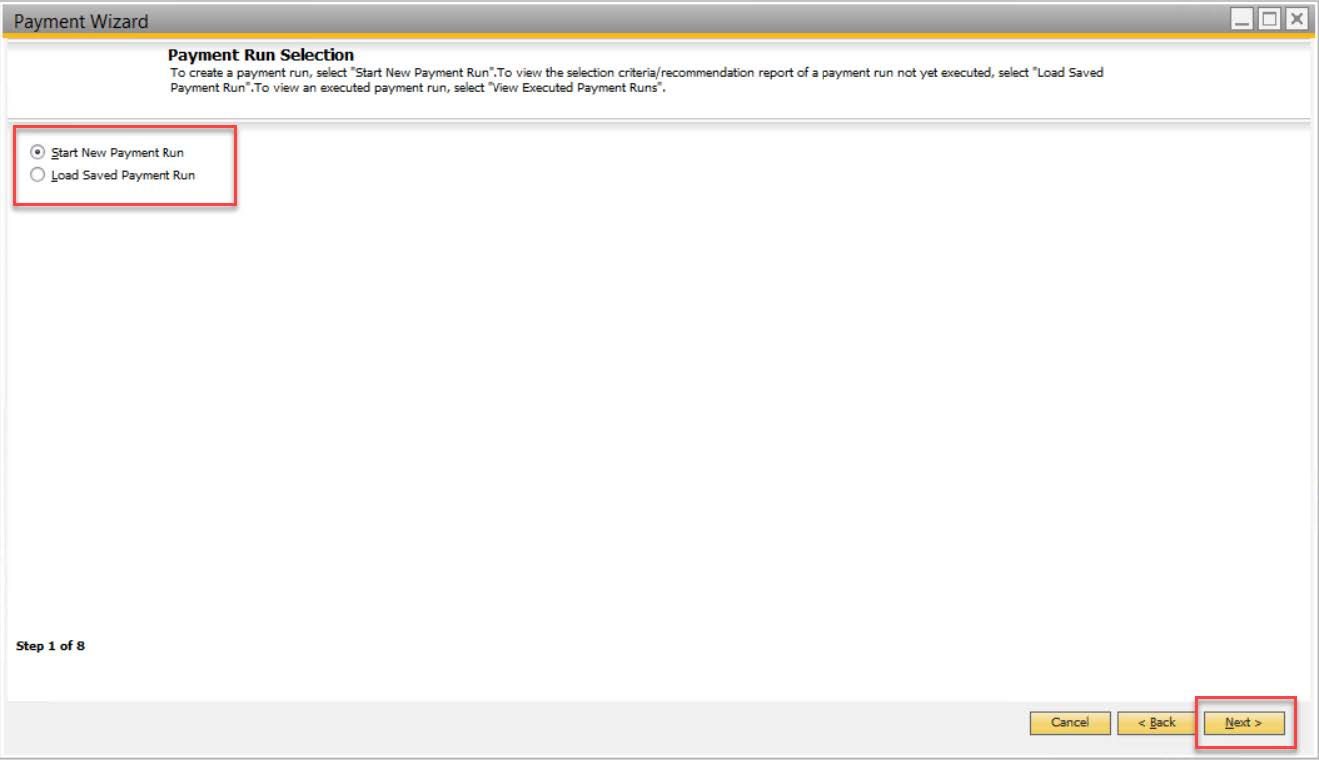 payment wizard - sap business one