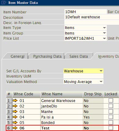 warehouse - sap business one