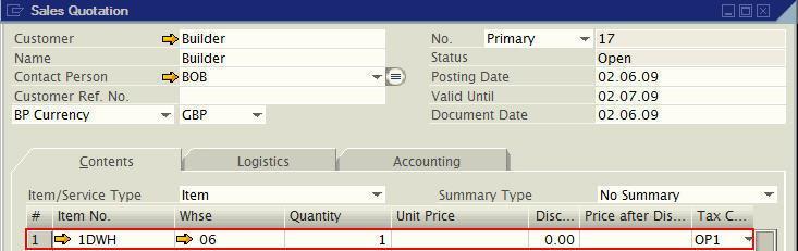 sales quotation - sap business one