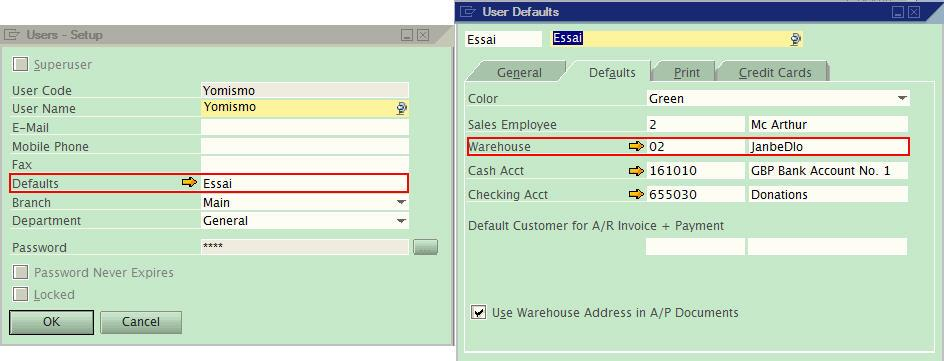 user default - sap business one