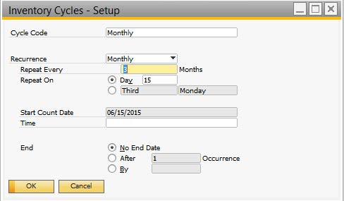 inventory cycles - sap business one