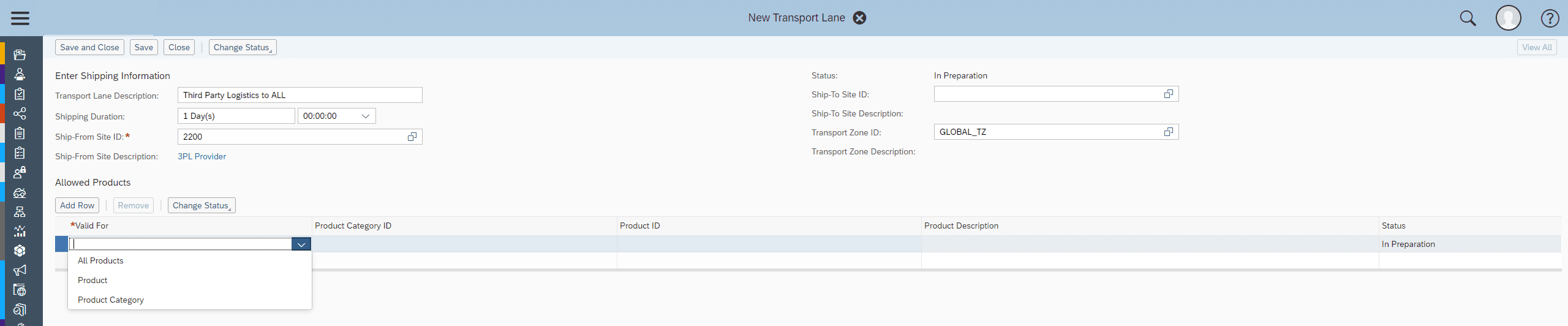 SAP Business ByDesign 3PL Transport Lane