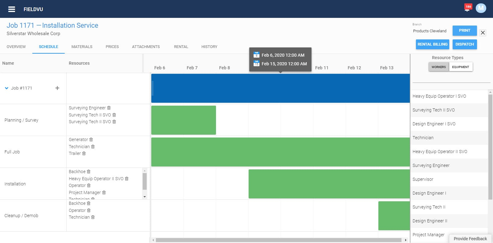 FieldVu Job Screen for field services