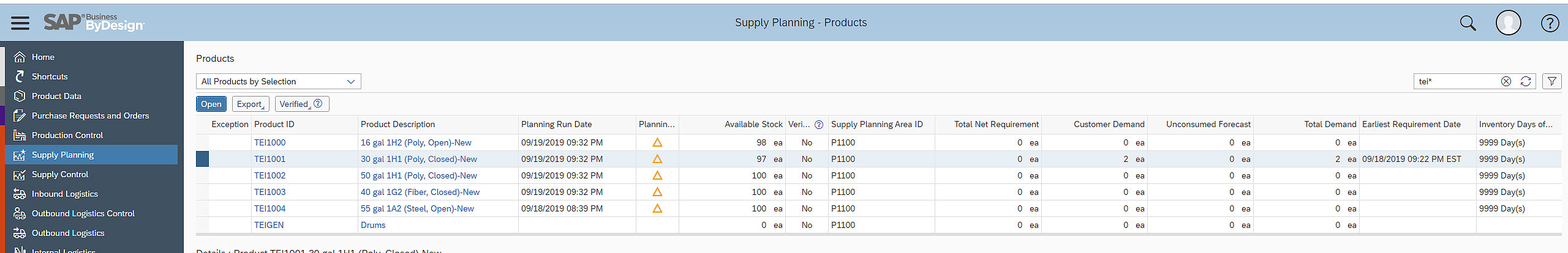SAP Business ByDesign Supply Planning