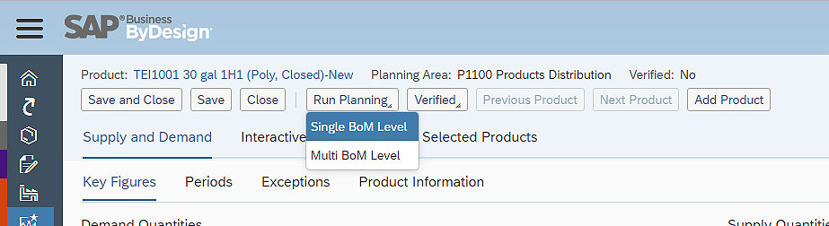 SAP Business ByDesign setting BOM