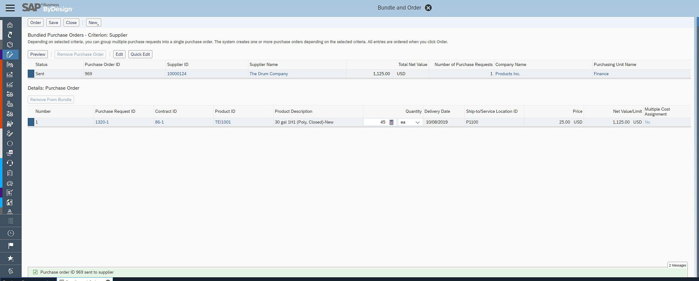 SAP Business ByDesign Bundling Orders