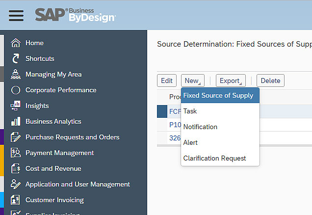 SAP Business ByDesign Setting Source