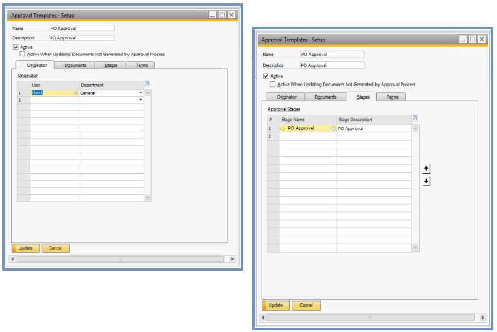 approval template - sap business one