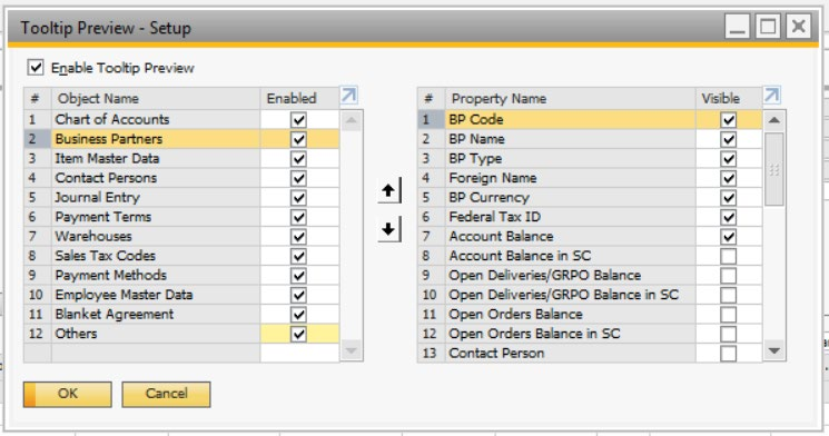 Tool Tip Preview - SAP Business One