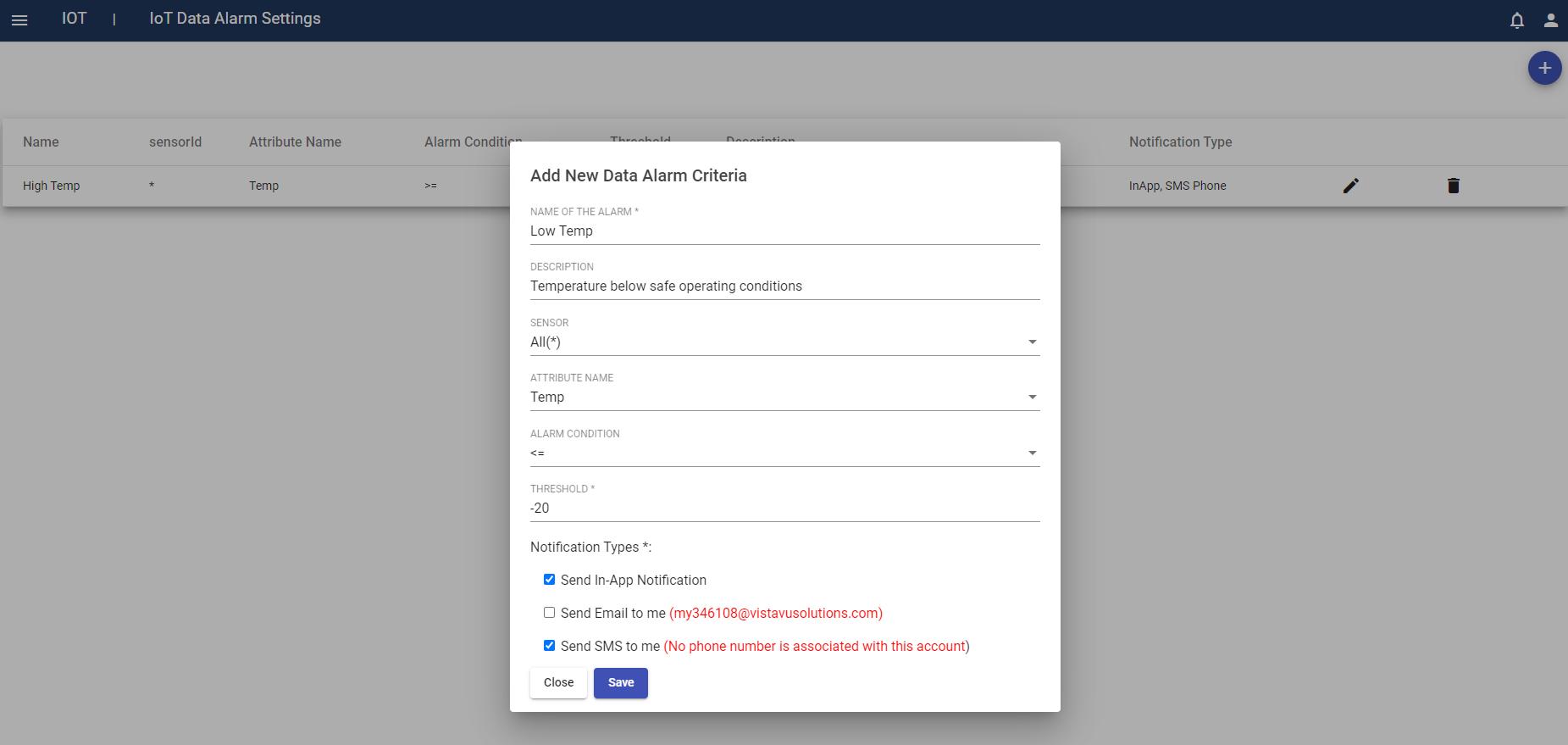FieldVu - data alarms