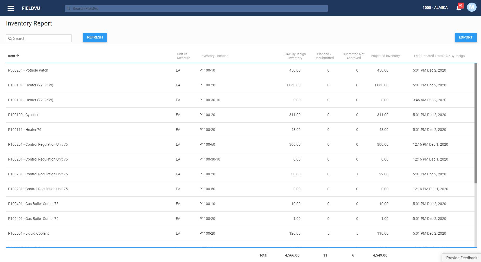 inventory report - fieldvu
