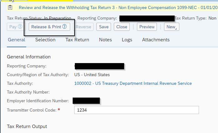 Tax return - sap business bydesign