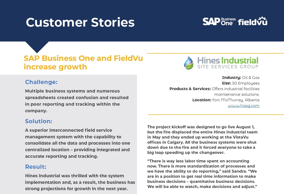 Hines-Site-Services-Business One Partner - VistaVu - Success
