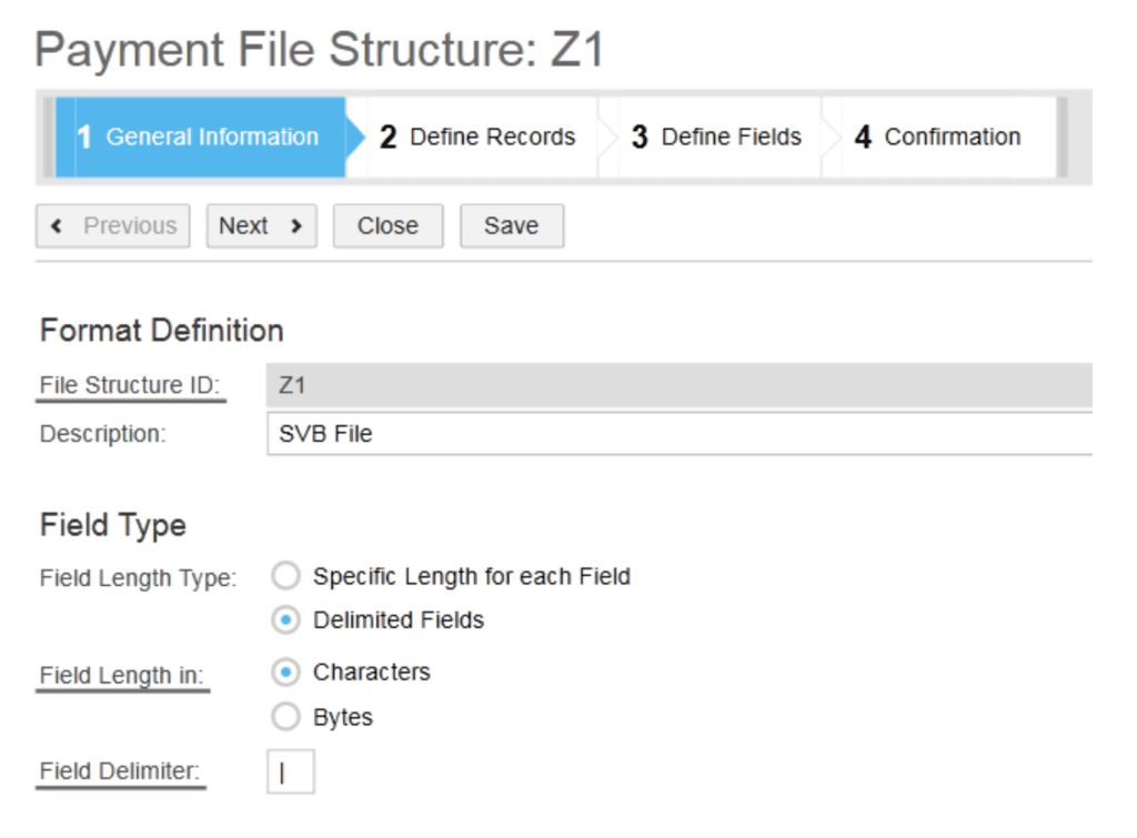 SAP ByDesign Payment File Structure screen