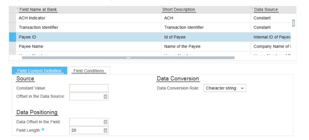SAP ByDesign Bank screen