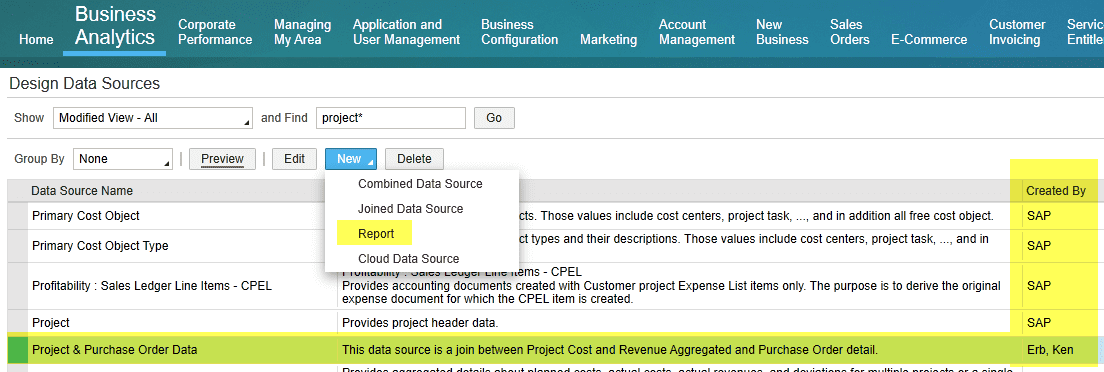 Reports SAP Business ByDesign