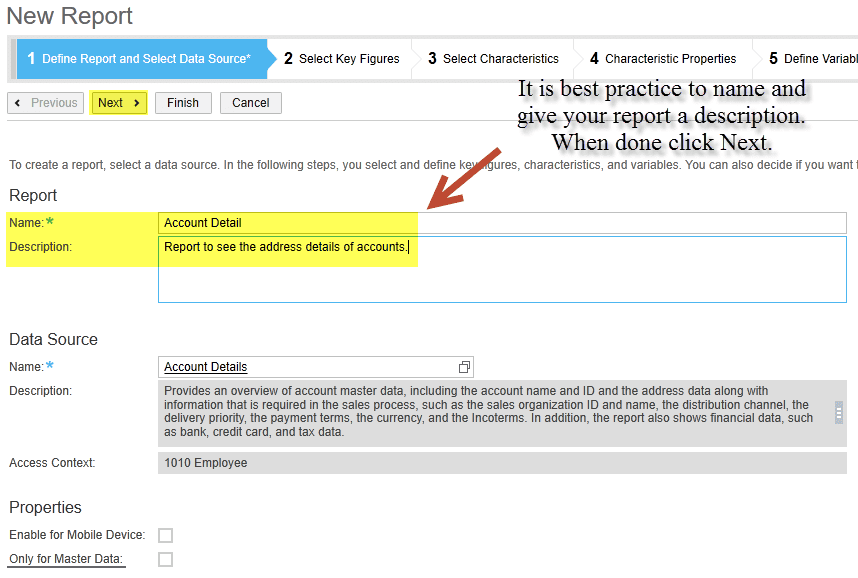 define report in sap business bydesign
