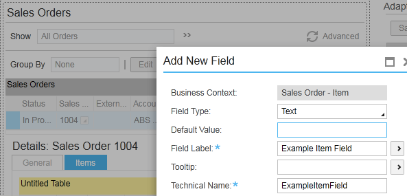new field - sap business bydesign