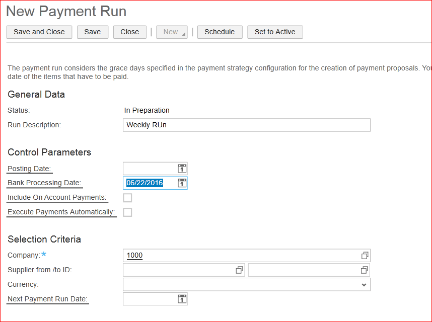 New Payment Run - SAP Business ByDesign
