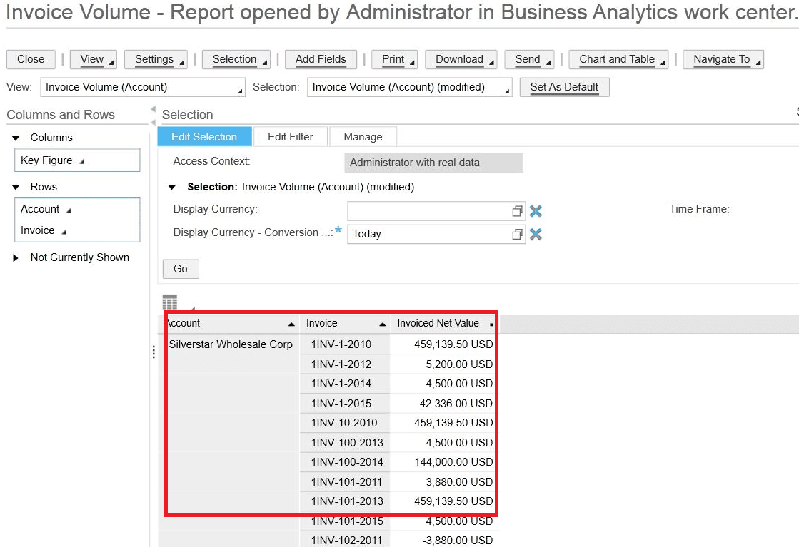Invoice volume - SAP Business ByDesign